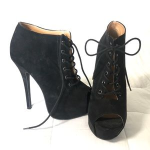 Lace up 4 inch bootie heels